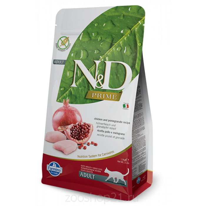 Корм Farmina N&D Chicken & Pomegranate Adult беззерновой для взрослых кошек курица с гранатом, 1.5 кг